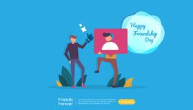 best friends forever concept for celebrating happy friendship day event. vector illustration of social relationship with people royalty free illustration