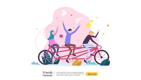 best friends forever concept for celebrating happy friendship day event. vector illustration of social relationship with people stock illustration