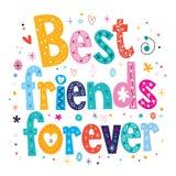 Best friends forever. Decorative type lettering design vector illustration