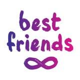 Best friends forever postcard. Ink gradient illustration. Modern brush calligraphy. vector illustration