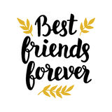 Best friends forever. Quote, modern hand written lettering in black and golden colors. Typographic design for greeting cards, posters, t-shirt print. Trendy vector illustration
