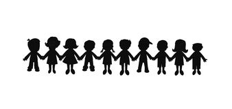 Best friends forever silhouette. Group of kids holding hands in unity representing best friends forever Royalty Free Stock Images