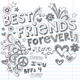 Best Friends Forever Sketchy Notebook Doodles. Design Elements on Lined Sketchbook Paper Background- Vector Illustration Royalty Free Stock Photo