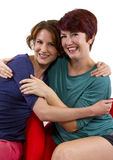Best Friends Forever. Two women posing on white background as Best Friends Forever Stock Images