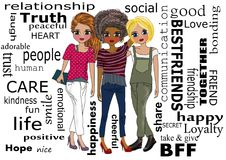 Best friends. Forever and word clouds illustration isolated concept royalty free illustration
