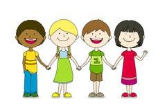 Best friends. Four best friends holding hands royalty free illustration