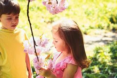 Best friends, friendship and family. childhood first love. small girl and boy relations. summer couple of little. Children. face skincare. allergy to flowers stock photo
