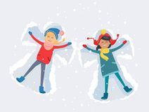 Best Friends. Girls Make Snow Angels Illustration. Best friends girls in cute winter clothes, make snow angels and have good time lying on snow with snowflakes Royalty Free Stock Photos