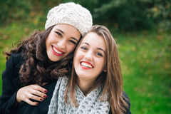 Best friends girls a piggyback Royalty Free Stock Images