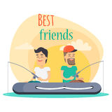 Best Friends Go Fishing Together Illustration Stock Image