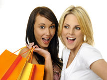 Best friends go shopping. Beautiful blonde and brunette carry their shopping bags together Stock Photos