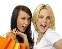 Best friends go shopping Stock Images