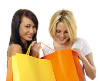 Best friends go shopping. Beautiful blonde and brunette carry their shopping bags together Stock Image