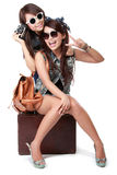 Best friends going on vacation Stock Image