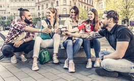 Best friends hang out in the streets of an old town Royalty Free Stock Photography