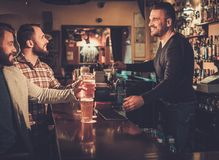 Best friends having fun and drinking draft beer at bar counter in pub. Royalty Free Stock Photography