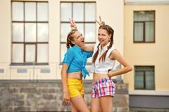 Best friends having fun in park. Royalty Free Stock Photos