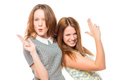Best friends having fun, portrait. On a white background Stock Photography
