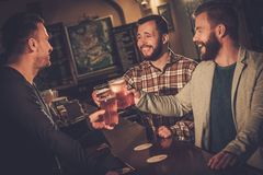 Best friends having fun watching a football game on TV and drinking draft beer at bar counter in pub. Cheerful old friends having fun and drinking draft beer at Royalty Free Stock Image