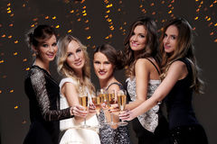 Best friends having a new year party. Girls with a glass of champagne have new year party Royalty Free Stock Photo