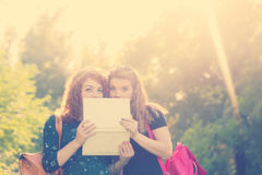 Best friends are hiding behind a laptop. Royalty Free Stock Photos
