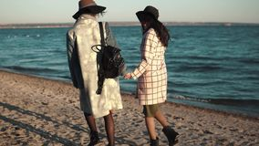 Best friends hold hands and walk along the beach at sunset. the girls are enjoying a warm autumn day. Two cute young women are smiling and enjoying life on an stock video