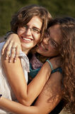 Best friends holding each other Stock Photos