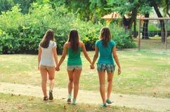 Best friends holding hands. Three teenage girlfriends holding hands and walking in the park royalty free stock photo