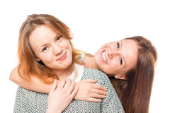 Best friends hugging isolated Royalty Free Stock Image