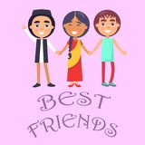 Best Friends International Holiday for Children Poster. On pink background. Smiling young kids wishes happy global childrens day vector illustration Royalty Free Stock Photos