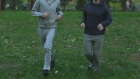Best friends jogging along park, active cardio training, healthy lifestyle stock video footage
