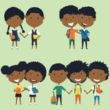 Best friends kids vector set Stock Photos