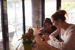 Best friends ladies in cafe. Toned picture of best friends ladies communicating in cafe or restaurant while sitting at table and looking at mobile or smart phone Stock Photography