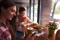 Best friends ladies in cafe. Toned picture of girls drinking coffee while having break in cafe or restaurant. Coseup picture of lady using mobile or smart phone Royalty Free Stock Photography