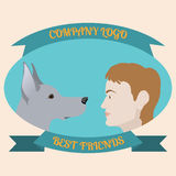 Best friends man and dog logo pattern in cartoon-style Stock Photos