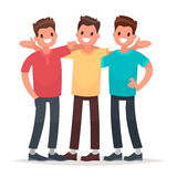 Best friends. Men embracing rejoice at the meeting. Vector illus Stock Image