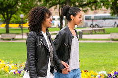 Best friends of north african ethnicity in park Stock Image
