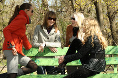 Best friends in park. Four female friends talking in a city park Stock Images