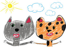 Best friends.Pencil drawing Royalty Free Stock Photography