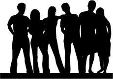 Best friends, people silhouette royalty free illustration