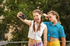 Best friends are photographed in park. Photo phone selfie Royalty Free Stock Image
