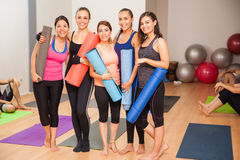Best friends ready to do some yoga Royalty Free Stock Image