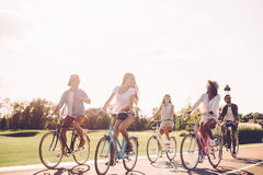 Best friends and road ahead. Stock Photography