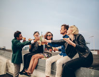 Best friends on a rooftop party Stock Image