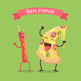 Best Friends Sausage on Stick and Pizza Dancing. Stock Photography