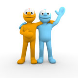 Best friends saying hello. 2 best friends waving hello Stock Images