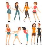 Best Friends Set, Happy Smiling Girls Meeting, Greeting, Hugging, Female Friendship Concept Vector Illustration stock illustration