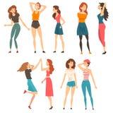 Best Friends Set, Happy Smiling Girls Spending Good Time Together, Female Friendship Concept Vector Illustration vector illustration