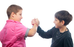 Best friends shaking hands Stock Images