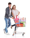 Best friends shop for christmas Royalty Free Stock Photos